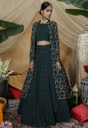 Embroidered Chinon Chiffon Lehenga in Dark Teal Green