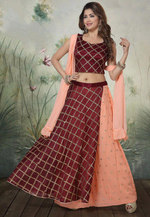 Embroidered Chinon Chiffon Lehenga in Light Orange