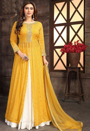 Embroidered Chinon Chiffon Lehenga in Mustard