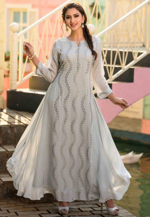 Embroidered Chinon Chiffon Long Kurta in Light Grey