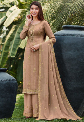 Embroidered Chinon Chiffon Pakistani Suit in Beige