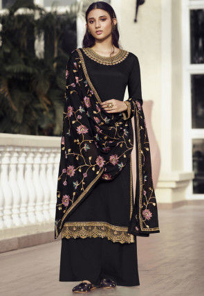 Embroidered Chinon Chiffon Pakistani Suit in Black