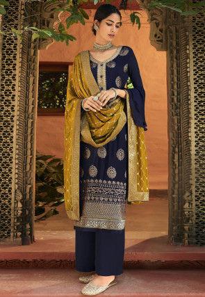 Embroidered Chinon Chiffon Pakistani Suit in Dark Blue