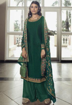 Embroidered Chinon Chiffon Pakistani Suit in Dark Green