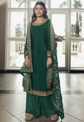 Embroidered Chinon Chiffon Pakistani Suit in Dark Green
