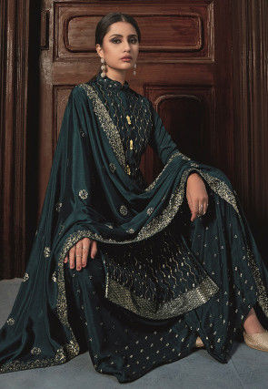 Embroidered Chinon Chiffon Pakistani Suit in Dark Teal Blue