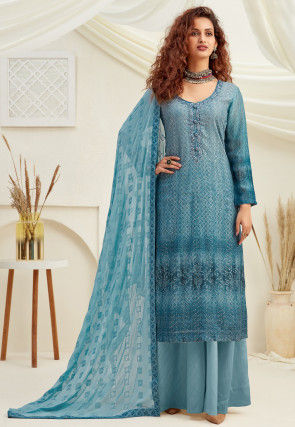 Embroidered Chinon Chiffon Pakistani Suit in Dusty Blue