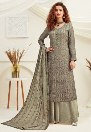 Embroidered Chinon Chiffon Pakistani Suit in Dusty Green