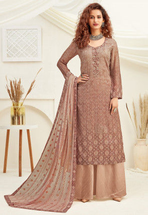 Embroidered Chinon Chiffon Pakistani Suit in Dusty Peach