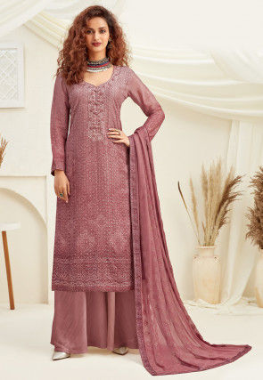 Embroidered Chinon Chiffon Pakistani Suit in Dusty Pink