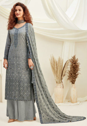 Embroidered Chinon Chiffon Pakistani Suit in Grey