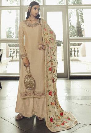 Embroidered Chinon Chiffon Pakistani Suit in Light Beige