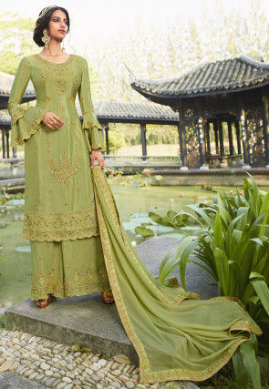 Embroidered Chinon Chiffon Pakistani Suit in Light Green