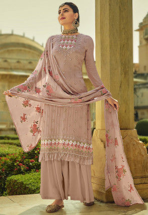 Embroidered Chinon Chiffon Pakistani Suit in Light Old Rose