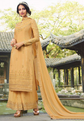 Embroidered Chinon Chiffon Pakistani Suit in Light Yellow