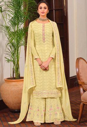Embroidered Chinon Chiffon Pakistani Suit in Light Yellow