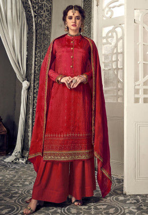 Embroidered Chinon Chiffon Pakistani Suit in Red