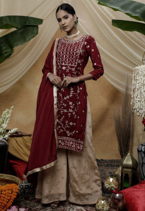 Embroidered Chinon Chiffon Pakistani Suit in Maroon