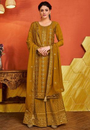 Embroidered Chinon Chiffon Pakistani Suit in Mustard