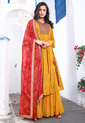 Embroidered Chinon Chiffon Pakistani Suit in Mustard