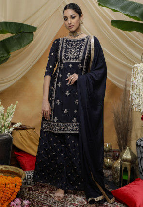 Embroidered Chinon Chiffon Pakistani Suit in Navy Blue