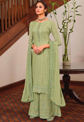 Embroidered Chinon Chiffon Pakistani Suit in Pastel Green