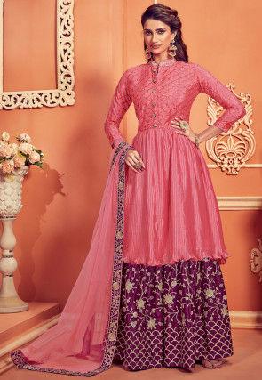 Embroidered Chinon Chiffon Pakistani Suit in Pink