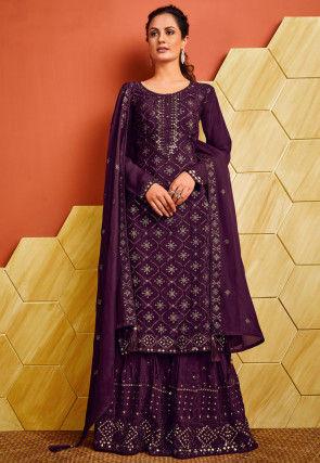 Embroidered Chinon Chiffon Pakistani Suit in Purple