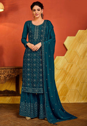 Embroidered Chinon Chiffon Pakistani Suit in Teal Blue