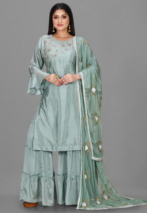 Embroidered Chinon Chiffon Pakistani Suit in Teal Green