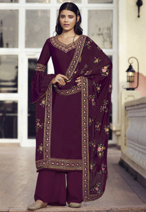Embroidered Chinon Chiffon Pakistani Suit in Wine