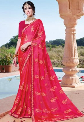 Embroidered Chinon Chiffon Saree in Fuchsia