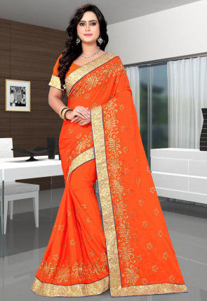 Embroidered Chinon Chiffon Saree in Orange