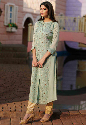 Embroidered Chinon Chiffon Straight Kurta in Sea Green
