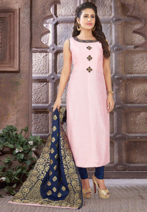 Embroidered Chinon Chiffon Straight Suit in Baby Pink