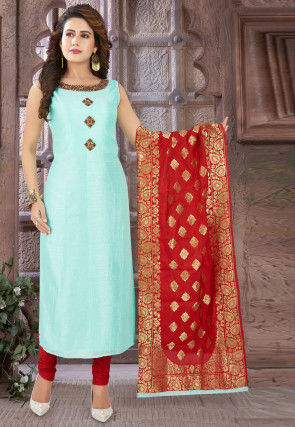Embroidered Chinon Chiffon Straight Suit in Sky Blue