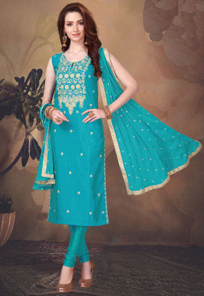 Embroidered Chinon Chiffon Straight Suit in Turquoise