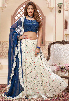Embroidered Chinon Chiffon Tiered Lehenga in Off White