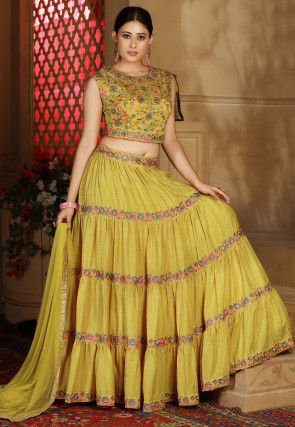 Embroidered Chinon Chiffon Tiered Lehenga in Olive Green
