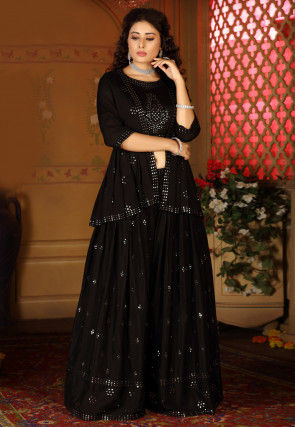Embroidered Chinon Chiffon Top with Sharara in Black
