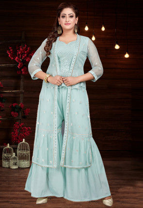 Embroidered Chinon Chiffon Top with Sharara in Sky Blue