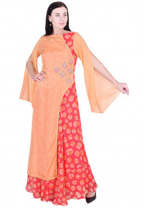 Embroidered Chinon Crepe Abaya Style Kurta in Orange and Pink