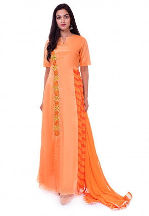 Embroidered Chinon Crepe Abaya Style Suit in Pastel Orange