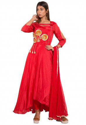 Embroidered Chinon Crepe Asymmetric Abaya Style Suit in Red