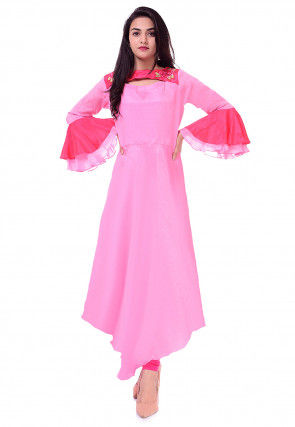 Embroidered Chinon Crepe Asymmetric Kurta in Pink