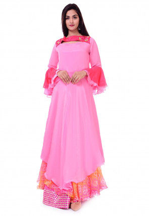 Embroidered Chinon Crepe Asymmetric Kurta Set in Pink