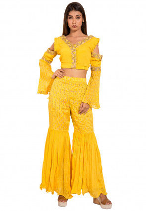 Embroidered Chinon Crepe Crop Top with Sharara in Yellow