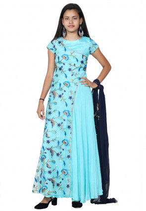 Embroidered Chinon Crepe Flap Style Abaya Style Suit in Blue