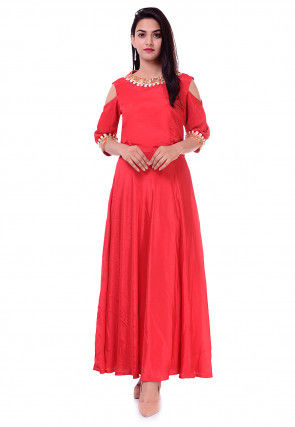 Embroidered Chinon Crepe Flared Kurta in Red