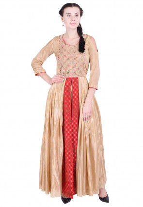 Embroidered Chinon Crepe Front Slitted Long Kurta in Beige